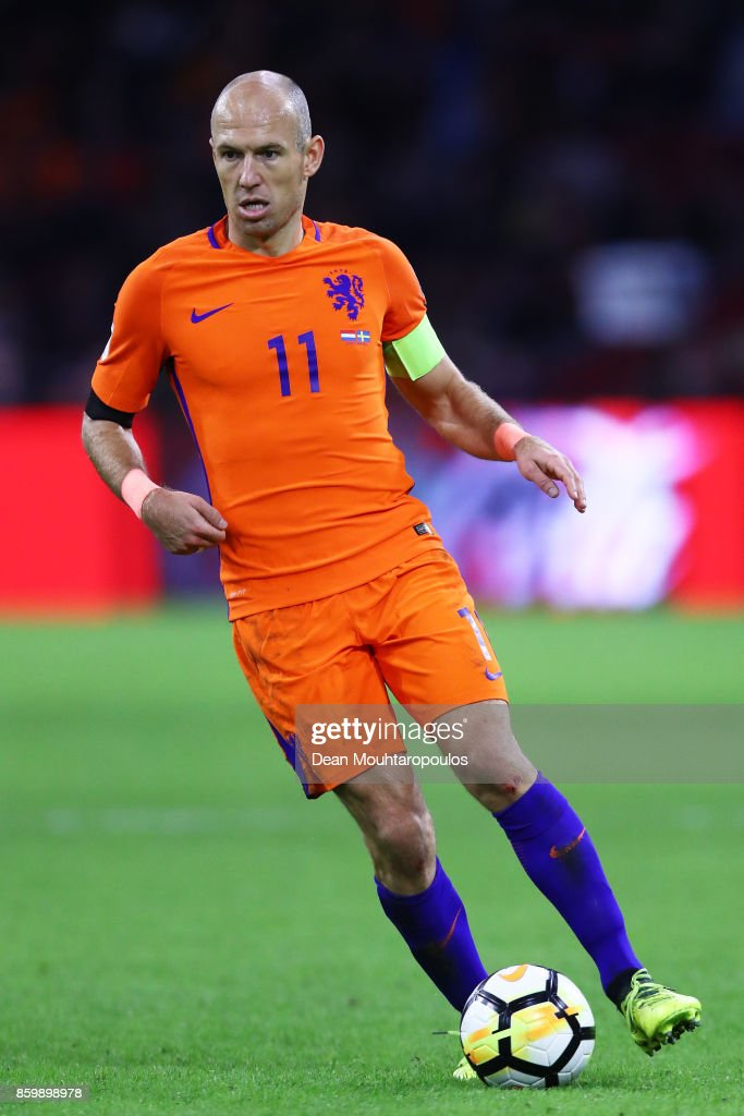 Arjen Robben of Netherlands during the FIFA 2018 World Cup Qualifier between Netherlands and Sweden at the Amsterdam Arena on October 10, 2017 in Amsterdam, Netherlands.