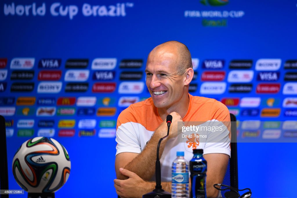 Arjen Robben of Netherlands faces the media during the Netherlands press conference before the 2014 FIFA Word Cup Group B match between Spain and Netherlands at the Arena Fonte Nova on June 12, 2014 in Salvador, Brazil.