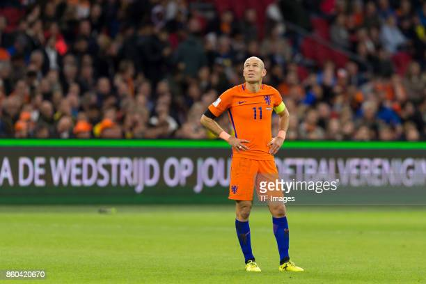 Arjen Robben of Netherlands looks on during the FIFA 2018 World Cup Qualifier between Netherlands and Sweden at Amsterdam Arena on October 10 2017 in...