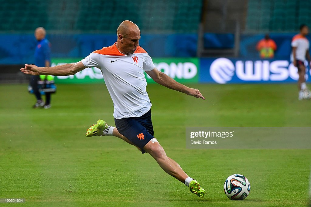 Arjen Robben of Netherlands shoots towards goal during the Netherlands training session before the 2014 FIFA Word Cup Group B match between Spain and Netherlands at the Arena Fonte Nova on June 12, 2014 in Salvador, Brazil.
