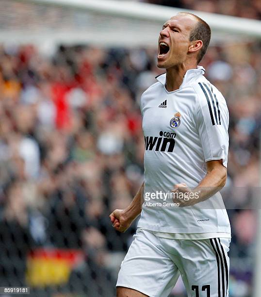 Arjen Robben of Real Madrid celebrates his goal against Real Valladolid during the La Liga match between Real Madrid and Real Valladolid at the...