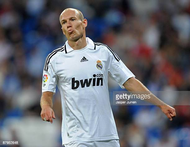 Arjen Robben of Real Madrid reacts during the La Liga match between Real Madrid and Mallorca at the Santiago Bernabeu Stadium on May 24 2009 in...
