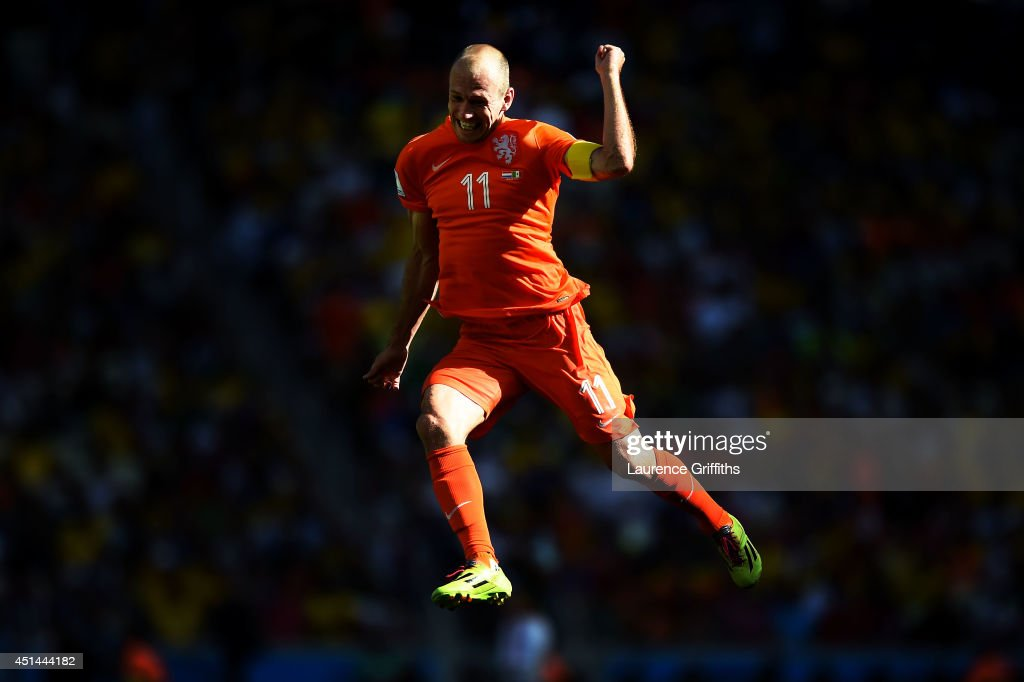 Arjen Robben of the Netherlands celebrates after defeating Mexico 2-1 during the 2014 FIFA World Cup Brazil Round of 16 match between Netherlands and Mexico at Castelao on June 29, 2014 in Fortaleza, Brazil.