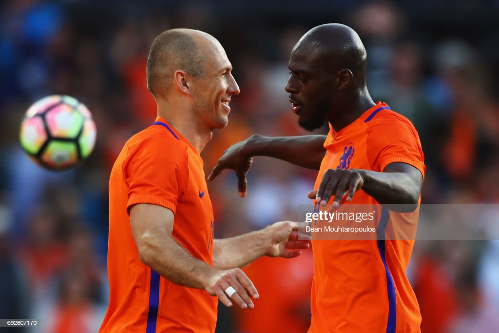 Arjen Robben (L) of the Netherlands celebrates scoring his teams second goal of the game with team mate Bruno Martins Indi during the International Friendly match between the Netherlands and Ivory Coast held at De Kuip or Stadion Feijenoord on June 4, 2017 in Rotterdam, Netherlands.