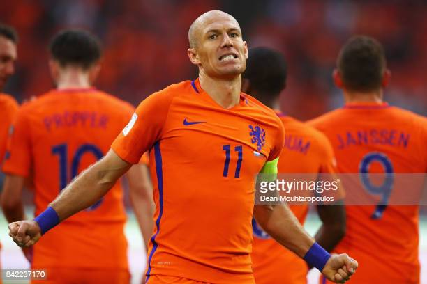 Arjen Robben of the Netherlands celebrates scoring his teams second goal of the game during the FIFA 2018 World Cup Qualifier between the Netherlands...