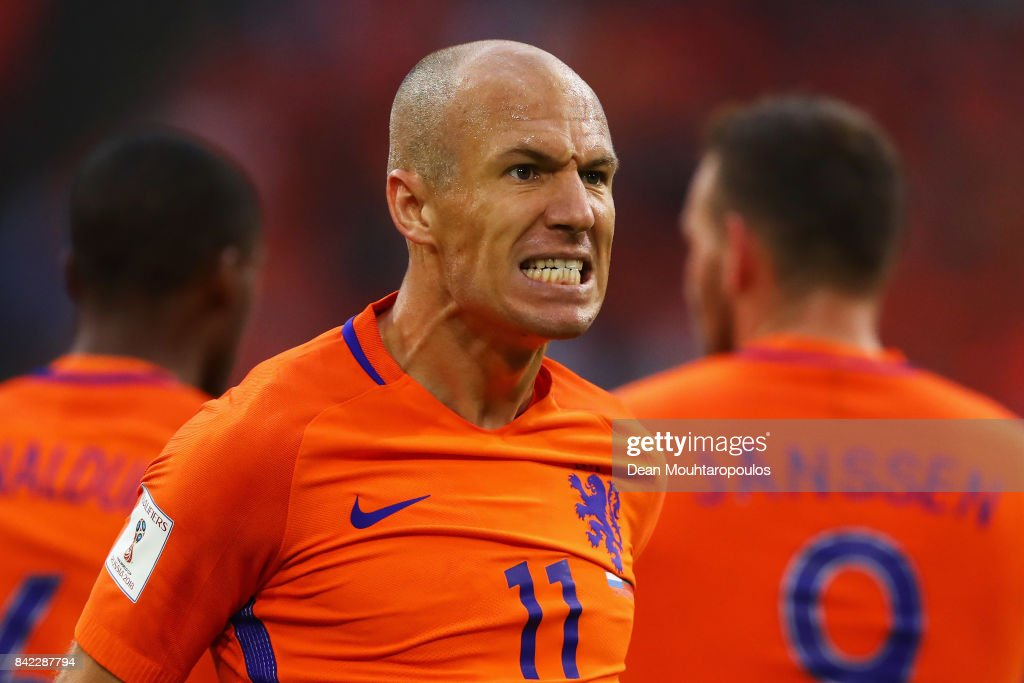Arjen Robben of the Netherlands celebrates scoring his teams second goal of the game during the FIFA 2018 World Cup Qualifier between the Netherlands and Bulgaria held at The Amsterdam ArenA on September 3, 2017 in Amsterdam, Netherlands.