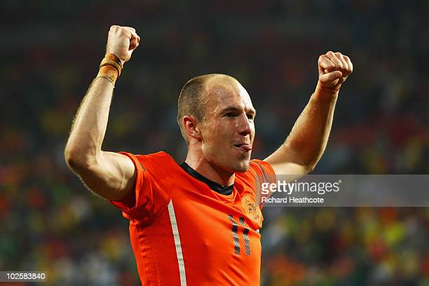 Arjen Robben of the Netherlands celebrates victory following the 2010 FIFA World Cup South Africa Quarter Final match between Netherlands and Brazil...