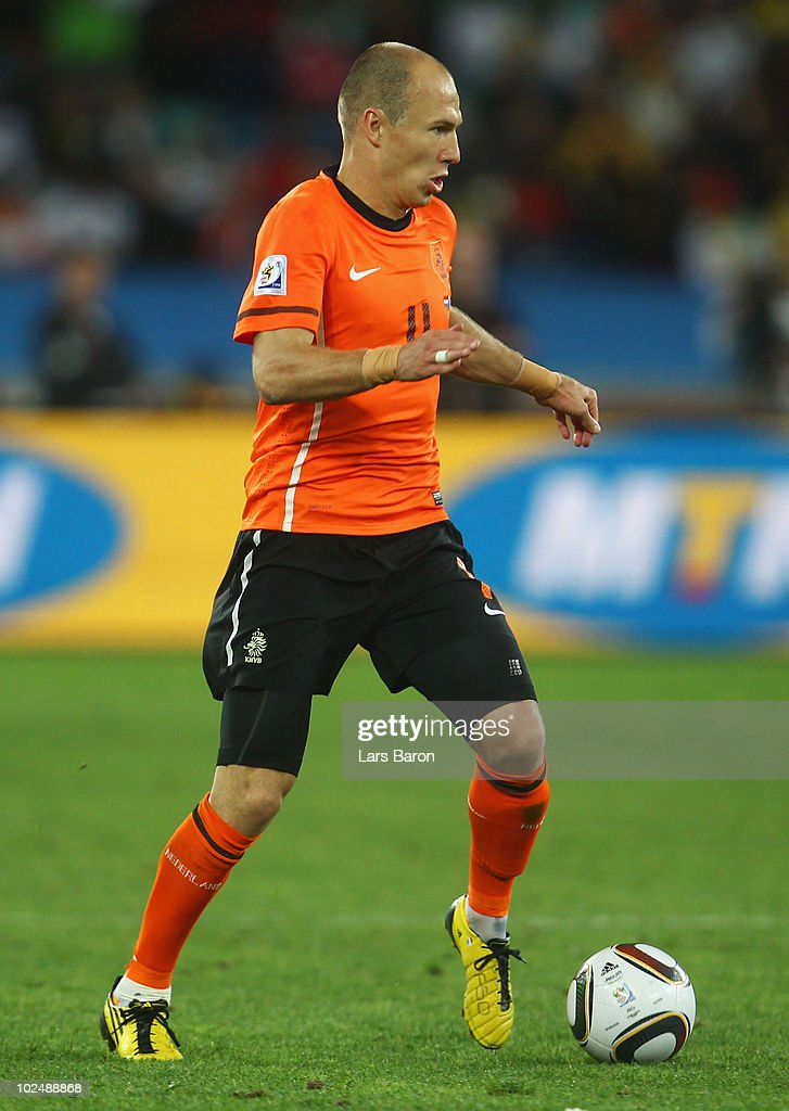 Arjen Robben of the Netherlands in action during the 2010 FIFA World Cup South Africa Round of Sixteen match between Netherlands and Slovakia at Durban Stadium on June 28, 2010 in Durban, South Africa.
