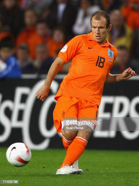 Arjen Robben of the Netherlands in action during the Euro 2008 Group G qualifying match between The Netherlands and Slovenia at Philips Stadium on...