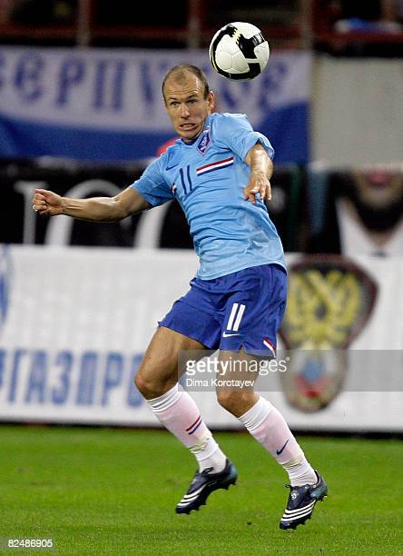 Arjen Robben of the Netherlands is shown in action during a friendly international soccer match against Russia at the Lokomotiv Stadium on August 20...