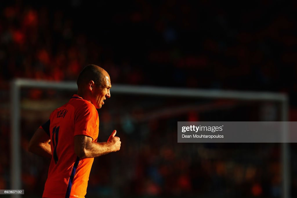 Arjen Robben of the Netherlands looks on during the International Friendly match between the Netherlands and Ivory Coast held at De Kuip or Stadion Feijenoord on June 4, 2017 in Rotterdam, Netherlands.