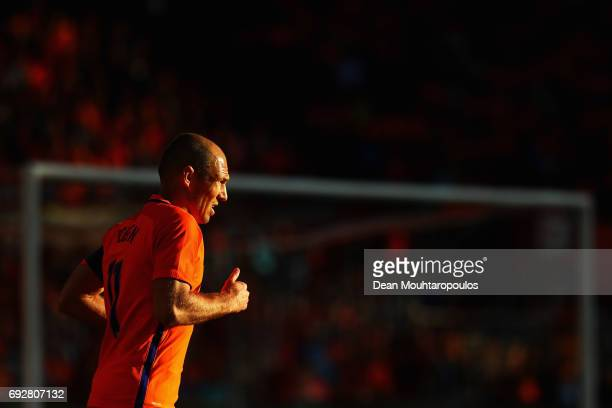 Arjen Robben of the Netherlands looks on during the International Friendly match between the Netherlands and Ivory Coast held at De Kuip or Stadion...
