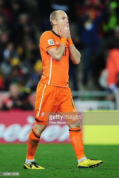 Arjen Robben of the Netherlands reacts to a missed chance during the 2010 FIFA World Cup South Africa Final match between Netherlands and Spain at...