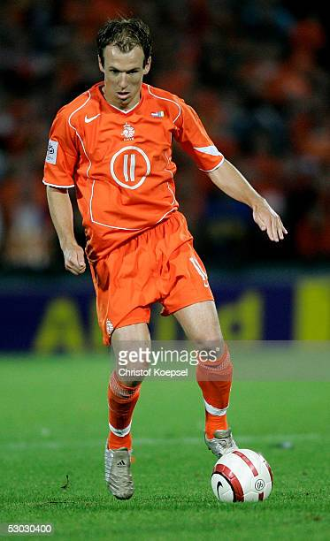 Arjen Robben of the Netherlands runs with the ball during the World Cup Qualification match between Netherlands and Romania on June 4 2005 in...