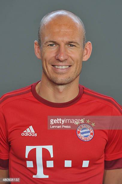 Arjen Robben poses during the team presentation of FC Bayern Muenchen at Bayern's training ground Saebener Strasse on July 16 2015 in Munich Germany