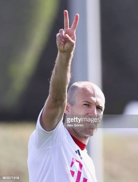 Arjen Robben reacts during a training session on day 6 of the FC Bayern Muenchen training camp at ASPIRE Academy for Sports Excellence on January 7...
