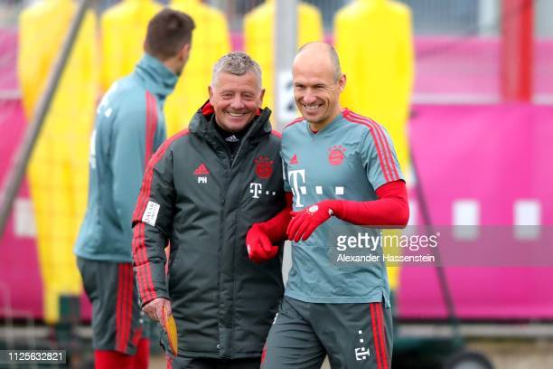 Arjen Robben smiles during a FC Bayern Muenchen training session at Saebener Strasse training ground on January 28 2019 in Munich Germany