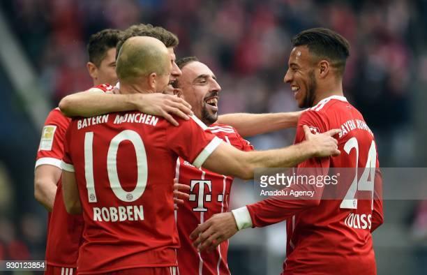 Arjen Robben Thomas Mueller Franck Ribery and Corentin Tolisso of Munich celebrate a goal during the German Bundesliga soccer match between FC Bayern...