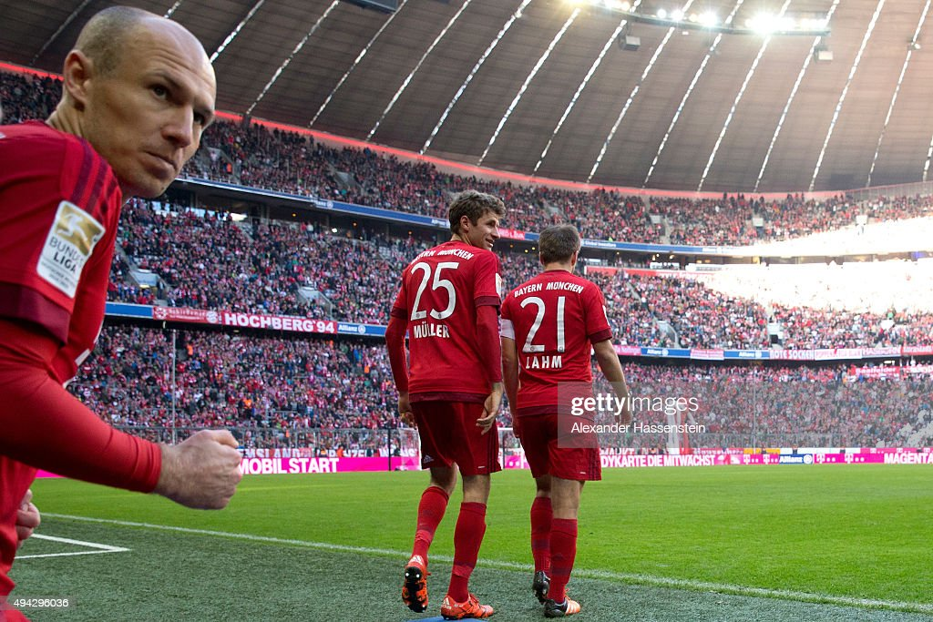 Arjen Robben, Thomas Muller and Philipp Lahm of Muenchen enters the field for the Bundesliga match between FC Bayern Muenchen and 1. FC Koeln at Allianz Arena on October 24, 2015 in Munich, Germany.