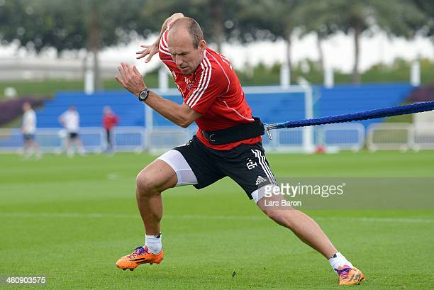 Arjen Robben trains during a training session at day 2 of the Bayern Muenchen training camp at ASPIRE Academy for Sports Excellence on January 6 2014...