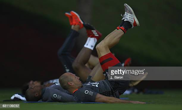 Arjen Robben warms up during a training session at day 5 of the Bayern Muenchen training camp at Aspire Academy on January 7, 2017 in Doha, Qatar.