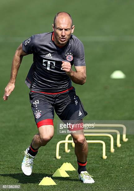 Arjen Robben warms up during a training session at day 8 of the Bayern Muenchen training camp at Aspire Academy on January 10 2017 in Doha Qatar