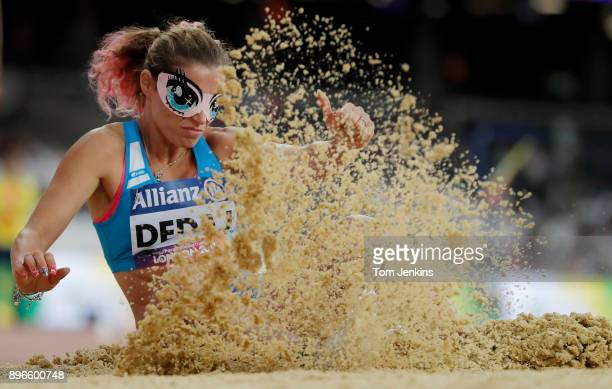 Arjola Dedaj of Italy jumps to victory in the women's long jump T11 final during the World Para Athletics Championships 2017 at the Olympic Stadium...