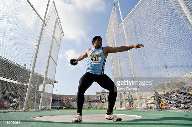 Arjun Arjun of India competes on the Men's Discus Throw qualification round on the day one of the 14th IAAF World Junior Championships at Estadi...