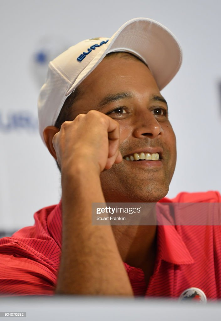 Arjun Atwal, Captain of Team Asia talks to the media after the first days fourball matches of the EurAsia Cup at Glenmarie G&CC on January 12, 2018 in Kuala Lumpur, Malaysia.