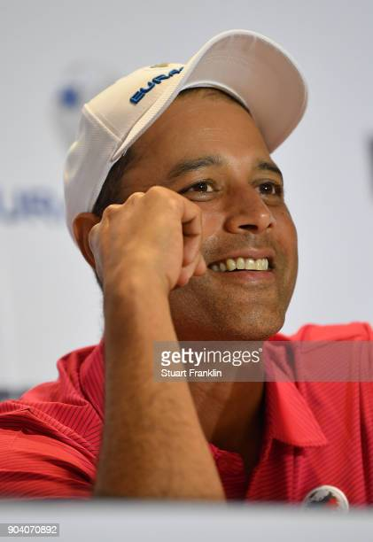 Arjun Atwal Captain of Team Asia talks to the media after the first days fourball matches of the EurAsia Cup at Glenmarie GCC on January 12 2018 in...