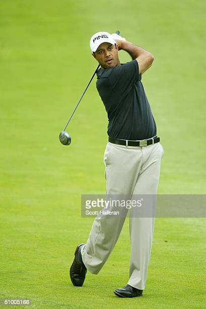 Arjun Atwal hits a shot during the second round of the Buick Classic at the Westchester Country Club on June 11 2004 in Harrison New York