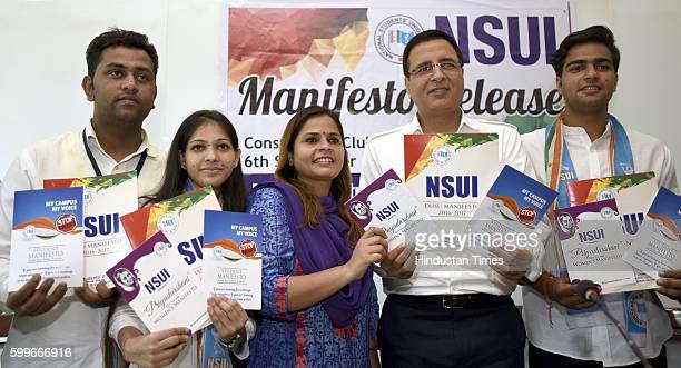 Arjun Chaprana V Presidential candidate Vinita Dhaka Secretarial Candidate of DUSU NSUI President Amrita Dhawan Congress spokesperson Randeep Singh...