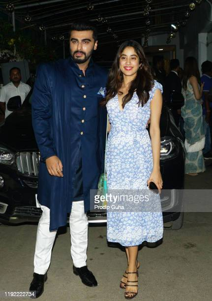 Arjun Kapoor and Janhvi Kapoor attend the PANIPAT movie screening on December 05 2019 in Mumbai India