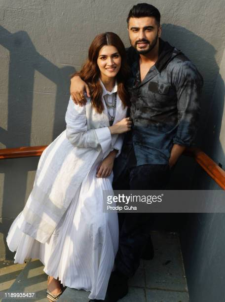 Arjun Kapoor and Kriti Sanon attend the Panipat film Photocall  on November 25 2019 in Mumbai India