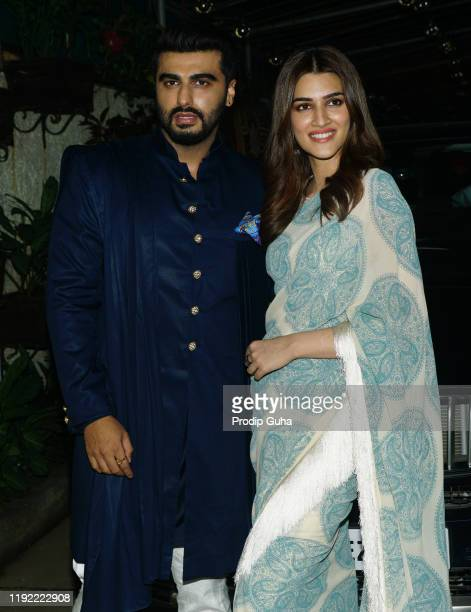 Arjun Kapoor and Kriti Sanon attend the PANIPAT movie screening on December 05 2019 in Mumbai India