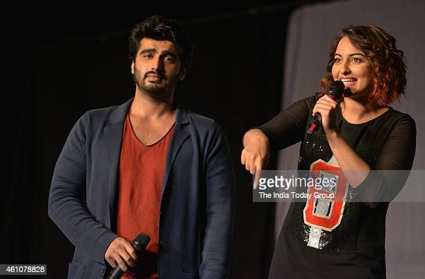 Arjun Kapoor and Sonakshi Sinha at the movie promotion of their upcoming film Tewar at IIT Powai in Mumbai