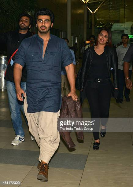 Arjun Kapoor and Sonakshi Sinha coming back from 'Tevar' film promotion