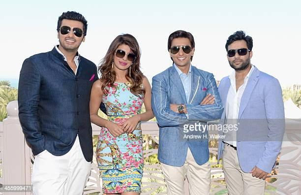 Arjun Kapoor Priyanka Chopra Ranveer Singh and Ali Abbas Zafar attend the 'Gunday' photocall during day eight of the 10th Annual Dubai International...