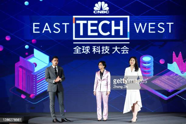 Arjun Kharpal, Evelyn Chang and Qian Chen of CNBC during Day 2 of CNBC East Tech West at LN Garden Hotel Nansha Guangzhou on November 18, 2020 in...