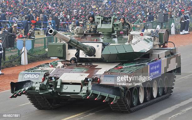 Arjun MarkII Tank of DRDO passing through the saluting base during the full dress rehearsal for Republic Day Parade at Rajpath on January 23 2014 in...