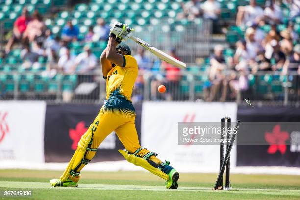 Arjun Nair of Australia is run out by Jeevan Mendis of Sri Lankaduring Day 1 of Hong Kong Cricket World Sixes 2017 Group B match between Australia vs...