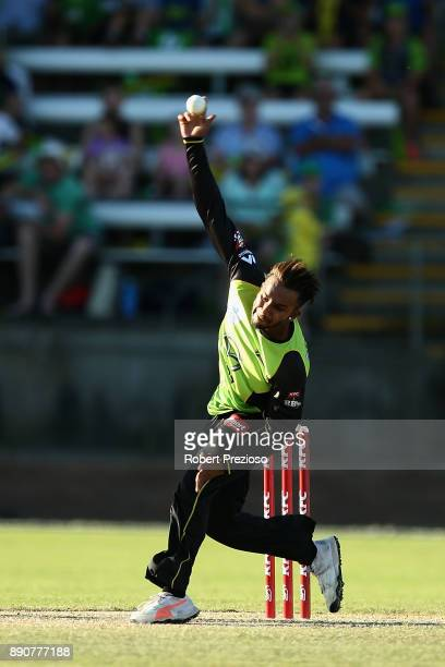Arjun Nair of the Sydney Thunder bowls during the Big Bash League exhibition match between the Melbourne Stars and the Sydney Thunder at Lavington...