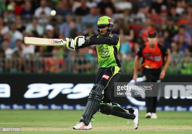 Arjun Nair of the Thunder bats during the Big Bash League match between the Sydney Thunder and the Perth Scorchers at Spotless Stadium on January 11...