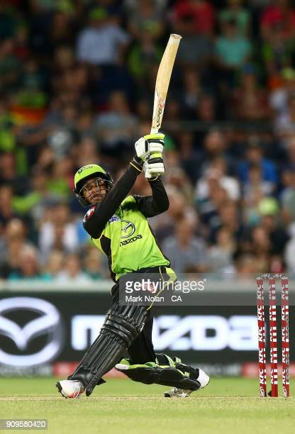 Arjun Nair of the Thunder bats during the Big Bash League match between the Sydney Thunder and the Melbourne Renegades at Manuka Oval on January 24,...