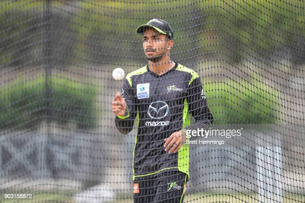 Arjun Nair of the Thunder looks on during the Sydney Thunder Big Bash League training session at Spotless Stadium on January 10 2018 in Sydney...