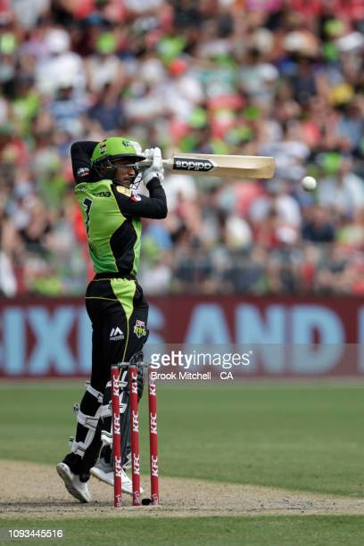 Arjun Nair of the Thunder plays and misses during the Big Bash League match between the Sydney Thunder and the Adelaide Strikers at Spotless Stadium...