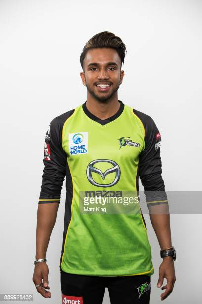 Arjun Nair poses during the Sydney Thunder Big Bash League BBL headshots session on December 8 2017 in Sydney Australia