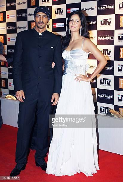 Arjun Rampal and Katrina Kaif at the premiere of the film Rajneeti in Mumbai on June 3 2010