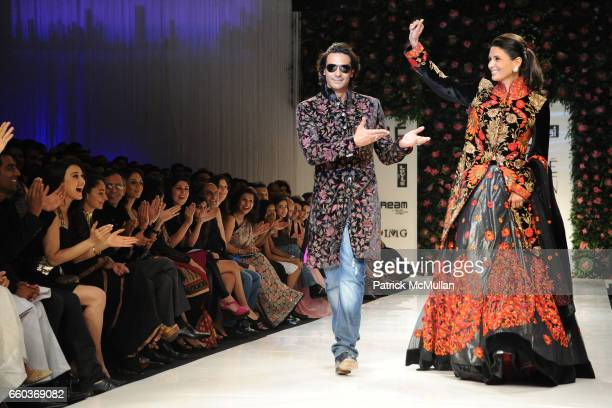 Arjun Rampal and Mehr Jesia attend VIKRAM CHATWAL HOTELS Presents MAI MUMBAI with Fashion For Relief at LAKME FASHION WEEK at The Grand Hyatt on...
