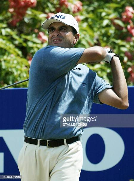 Arjun Singh of India watches his shot at the 17th hole during the second round of the Volvo Masters of Asia held at Kota Permai Golf and Country Club...
